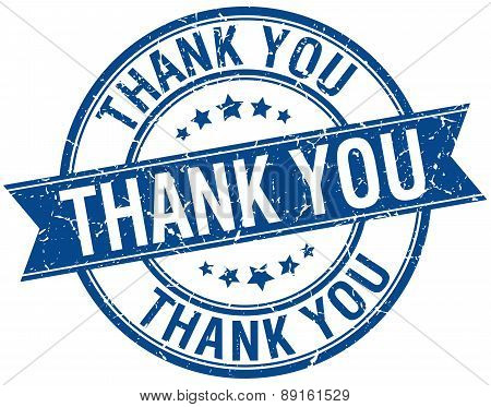 Thank You Grunge Retro Blue Isolated Ribbon Stamp