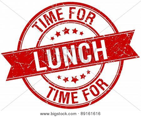 Time For Lunch Grunge Retro Red Isolated Ribbon Stamp