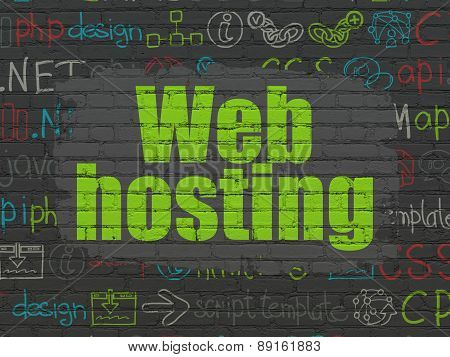 Web development concept: Web Hosting on wall background