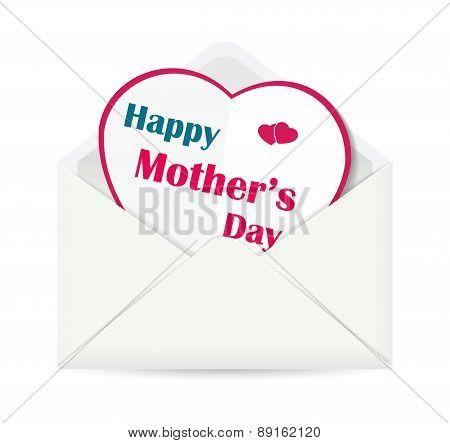 Happy Mother's Day paper heart in open envelope