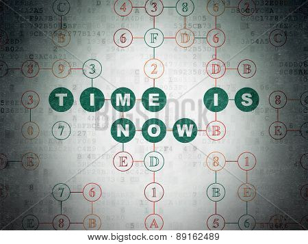 Time concept: Time is Now on Digital Paper background