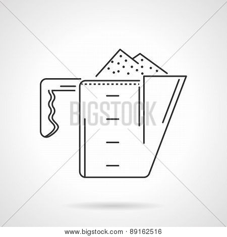 Powder scoop black line vector icon