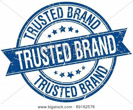 Trusted Brand Grunge Retro Blue Isolated Ribbon Stamp