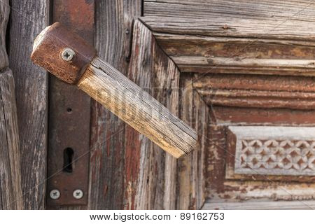 Old Wooden Door Handle