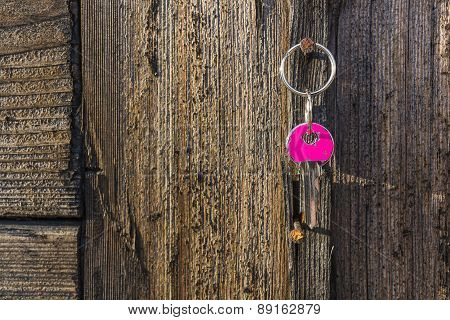 Pink Key Hanging On Rustic Nail