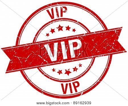 Vip Grunge Retro Red Isolated Ribbon Stamp