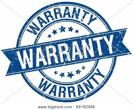 Warranty Grunge Retro Blue Isolated Ribbon Stamp