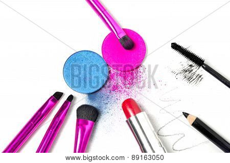 Makeup tools - brushes, eye shadows, lipstick, mascara and eyeliner
