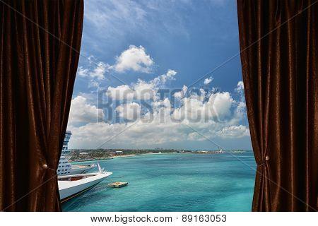 Cruise Ships In Nassau Bahamas Behind Curtain