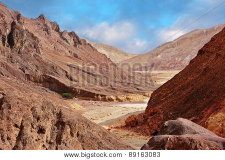 Multi-colored mountains of Eilat, Israel. Warm day in January. The road to the