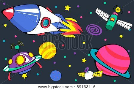 Planets Aircraft Drawing Earth Launch Concept