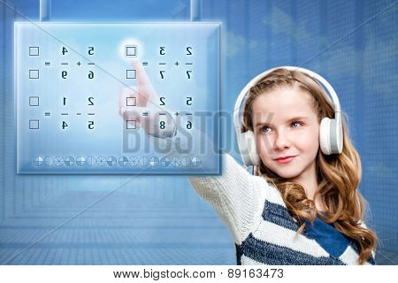 Girl Touching Futuristic Digital Screen.