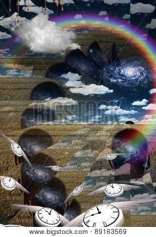 Metaphysical Illustration with passing time Elements of this image furnished by NASA