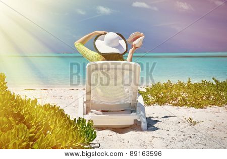Girl on the beach of Exuma, Bahamas