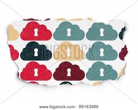 Cloud technology concept: Cloud With Keyhole icons on Torn Paper background