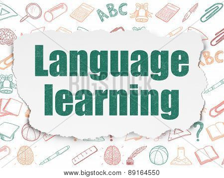 Education concept: Language Learning on Torn Paper background