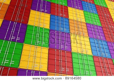 3d render of stacked colorful cargo containers