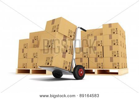 3d hand truck and cardboard boxes on white background