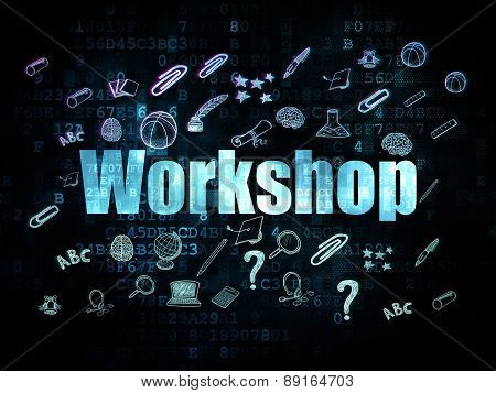 Education concept: Workshop on Digital background