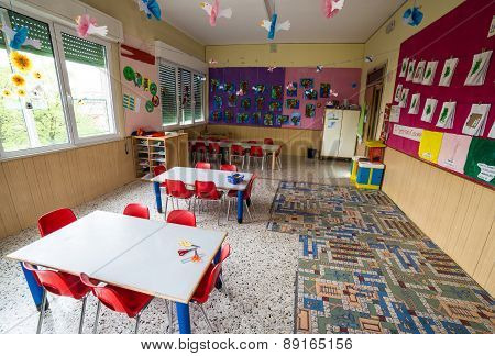 Nursery Class With Tables And Small Red Chairs For Children