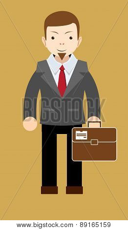 Successful businessman shows that everything is OK, vector illustration