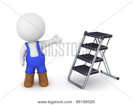 3D Character wearing overalls showing foldable ladder