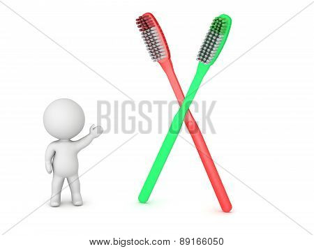 3D Character Showing Two Toothbrushes