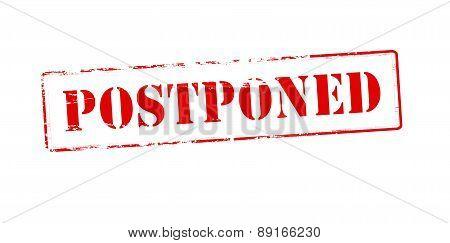 Rubber stamp with word postponed inside vector illustration