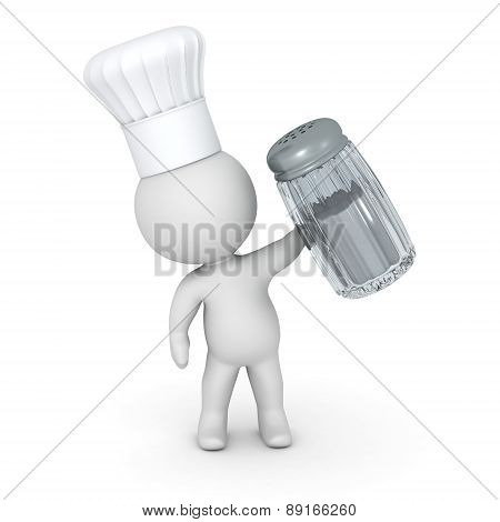 3D Character Wearing Chef Hat Holding Salt