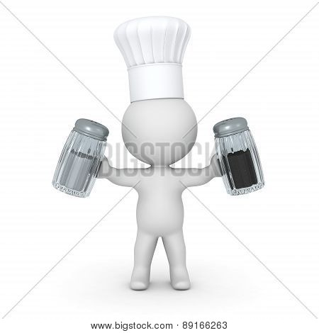 3D Character Wearing Chef Hat Holding Salt and Pepper