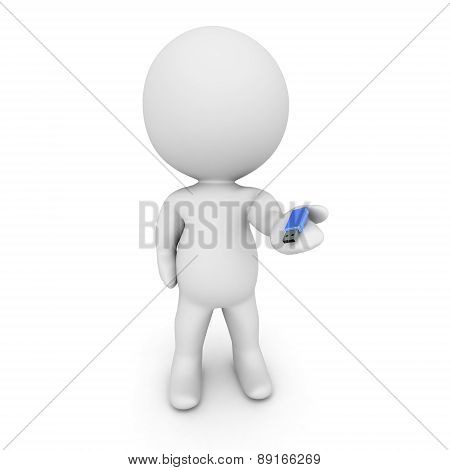 3D Character Holding Small USB Stick