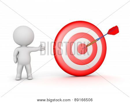 3D Character Showing Bullseye Target with Dart