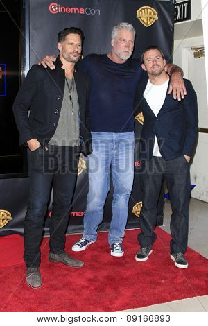 LAS VEGAS - APR 21:  Joe Manganiello, Kevin Nash, Channing Tatum at the Warner Brothers 2015 Presentation at Cinemacon at the Caesars Palace on April 21, 2015 in Las Vegas, CA