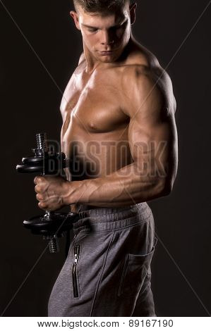 muscle bodybuilder man lifting weight