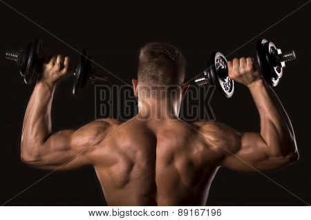 muscle bodybuilder man with weights