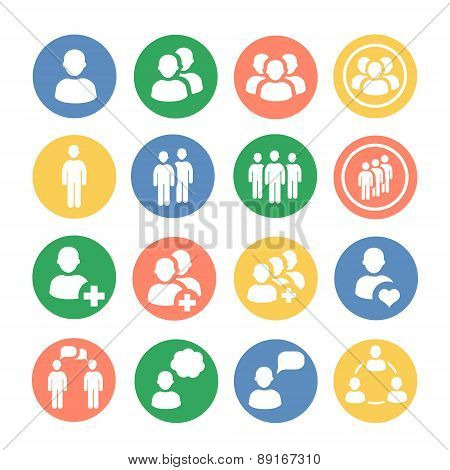 People and social colored icon set. Vector illustration.