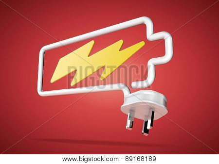 Electricity cable and plug makes battery logo with lightening bolt icon