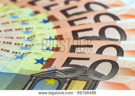50 euro banknotes, selective focus