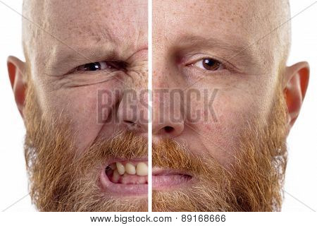 angry man sad man, two half faces isolated on white background