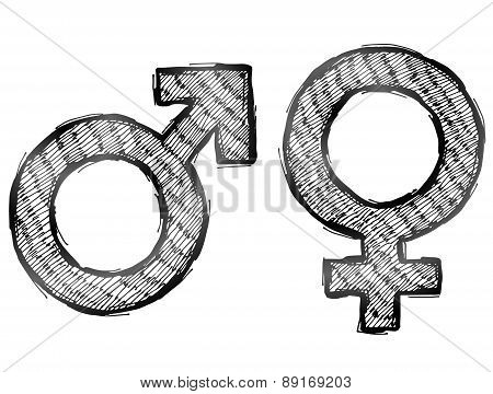 Hand Drawn Gender Symbols With Light Hatching