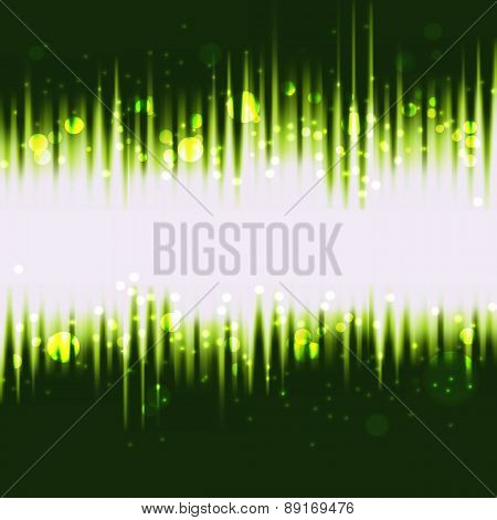 Green Waves Abstract Background With Magic Lights