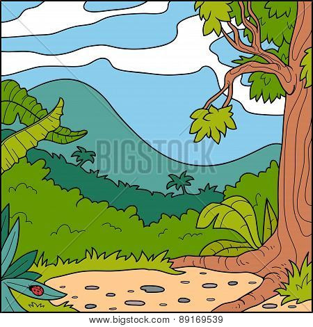 Vector Illustration, Natural Background (forest Glade)