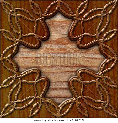 Wood Background With Celtic Pattern