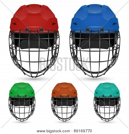 Set of goalkeeper hockey helmets, isolated on white