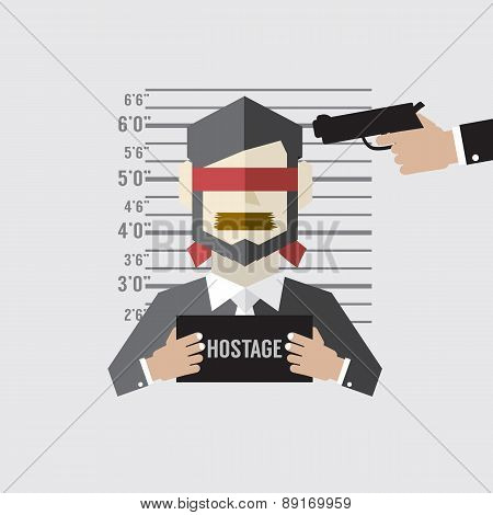 Hostage On Mugshot With Gun Point To His Head.