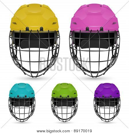 Set of goalkeeper hockey helmets, isolated on white background