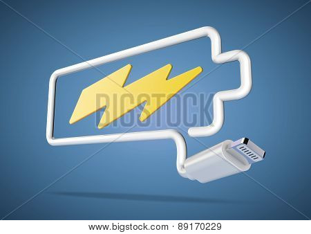 Computer cable and plug makes battery logo with lightening bolt icon