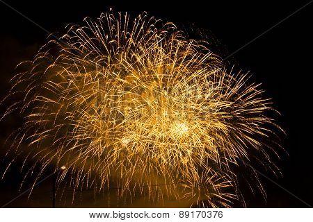 Beautiful Orange Fireworks In The Night Sky