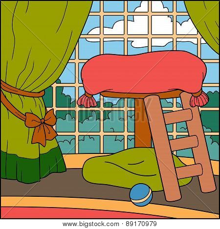 Vector Illustration, Color Background (cats House)