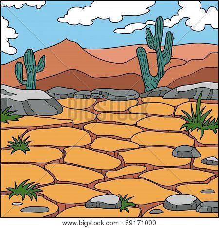 Vector Illustration, Natural Background (dry Desert)